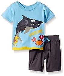 Boys Rock Baby 2 Pc Short Set Sea Creatures, Blue, 24 Months