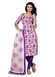SayShopp Fashion Women's Unstitched Regular Wear Cotton Printed Salwar Suit Dress Material (ZDM-27_Purple_Free Size)