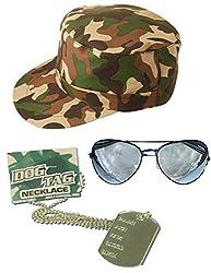 Lollipop Clothing Ladies fancy dress Soldier G.I Jane Hat Aviators Camouflage Cap Dog Tag Survivor