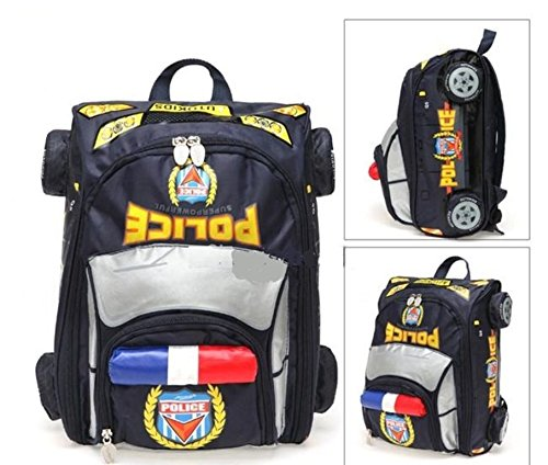 Autokids Child Backpack Anti-lost The Police Car Design Bag With Pencil Case nero