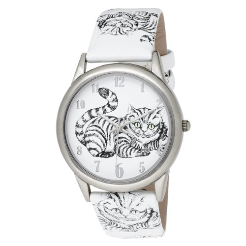 Alice in Wonderland Women's AL1009 Cheshire Cat White Dial Leather Strap Watch