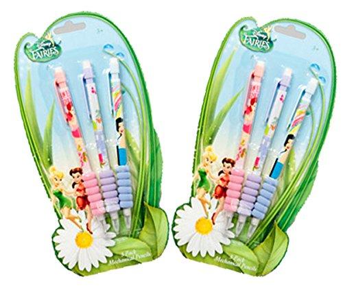 Disney Tinkerbell Mechanical Pencils 6 Pack 3 Different Designs # 6477-7104