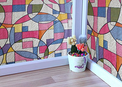 Coavas® Colorful Geometric Bath or Kitchen Window Film Static Window Cling - 1