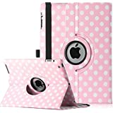 ULAK Polka Dot 360 Degree Rotating Magnetic Synthetic Leather stand Case Smart Cover For Apple iPad 2, iPad 3(the new iPad) , iPad 4th Generation with Wake/sleep Function (Pink+White Polka Dot)