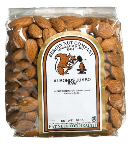 Buy Bergin Nut Company Almonds Jumbo Raw, 16-Ounce Bags (Pack of 2) (Bergin Nut Company, Health & Personal Care, Products, Food & Snacks, Baking Supplies, Nuts & Seeds)