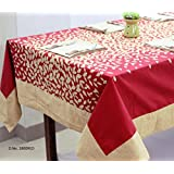 AURAVE Red Floral Printed Eight Seater Cotton Table Cover With Napkins