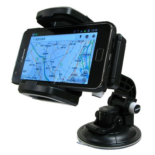 Hanwha 360度回転可能 スマートフォン 車載ホルダー iPhone/GALAXY/Xperiaなどのスマートフォンや携帯電話を車内で簡単固定!  吸盤タイプ [吸盤ベースプレート標準添付][車載スタンド][クレードル] UMA-MH01