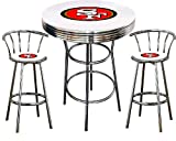 San Francisco 49ers Logo Themed 3 Piece Chrome Metal Finish Bar Table Set with Glass Table Top & 2 Swivel Seat SF49ers Logo Themed Bar Stools
