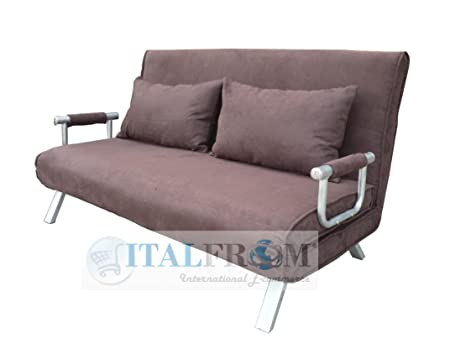 2-Seater Brown Sofa Bed 155 x 69 x 83 H cm.