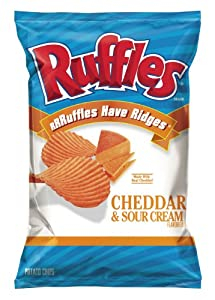 Ruffles Potato Chips, Cheddar and Sour Cream, 8.5 Oz