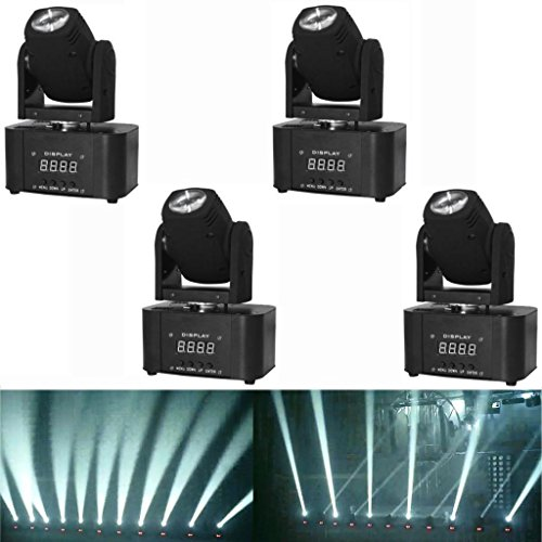 Yiscortm Stage Lighting Led Moving Head Beam Light White Dmx512 7Ch For Disco Dj Club Home Garden Party Wedding Effect (Pack Of 4)