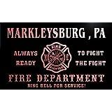 qy65139-r FIRE DEPT MARKLEYSBURG , PA PENNSYLVANIA Firefighter Neon Sign Barlicht Neonlicht Lichtwerbung