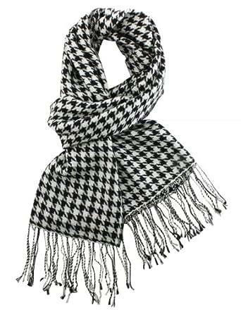 Dahlia Women's 100% Merino Wool Pashmina Scarf - Houndstooth - Black White