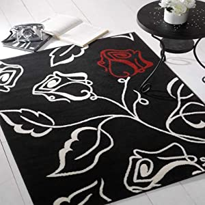 Flair Rugs Element Solo Floral Rug, Black/Red/Cream, 120 x 160 Cm by Flair Rugs