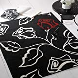 Flair Rugs Element Solo Floral Rug, Black/Red/Cream, 120 x 160 Cm