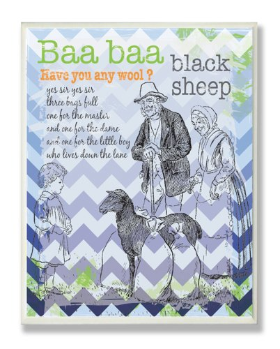The Kids Room by Stupell Baa Baa Black Sheep Nursery Rhyme on Blue Chevron Background Rectangle Wall Plaque