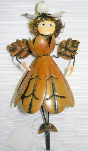 Brown Flower Dress Metal Garden Fairy Gift Stake