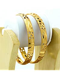 BDF Gold Plated Designer Antique Bangles. A Pair Of 2. Product Design May Differ As Per The Photography.Available...