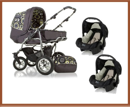 "FULL TRAVELSYSTEM DOUBLE/TWIN PRAM ""DUET"" + CAR SEAT ADAPTER FOR CHASSIS, INCL. 360° FRONT SWIVEL WHEELS - PARASOL - 2 x CARRY BASKETS - RAINCOVER - CHANGING BAG - 2 x CAR SEATS - IN COLOUR ANTHRACITE-YELLOE-DECOR (D-16)"