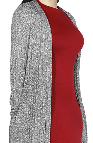 Lightweight Stretch Long Sleeve Pocket Open Cardigan Sweater For Women (LARGE, GREY-23977)