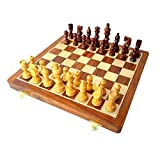 "16"" X 16″ Collectible Wooden Folding Chess Game Board Set+Wooden Line Carved Pieces (Delivery < 7 Days)"