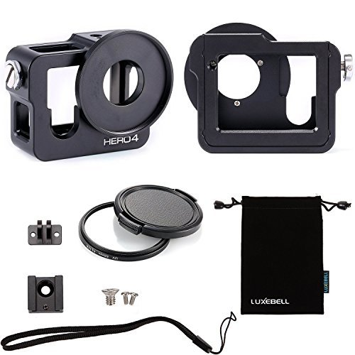 Luxebell-Gopro-Hero-4-Gehuse-Aluminium-Metallskelett-dicke-durchgezogene-Schutzhlle-37mm-UV-Filter-fr-Gopro-Hero4-Kamera