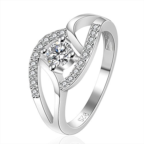 CS PRIORITY Bicyclic Ring Inlaid Stone Ring 8# Fashion Silver Jewelry for Women Ladies