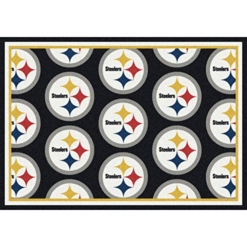 "Milliken 4000020033 Pittsburgh Steelers NFL Team Repeat Area Rug, 5'4"" x 7'8"", Multicolored at Steeler Mania"