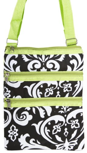 Black And White Damask Floral Small Hipster Cross Body Shoulder Bag Purse Handbag With Lime Green Trim