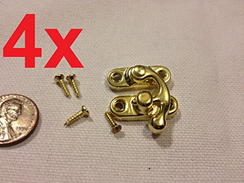 4pcs Gold (S) Latch Clasp Small Mini Doll House Antique Hook Carved Box Lock B21