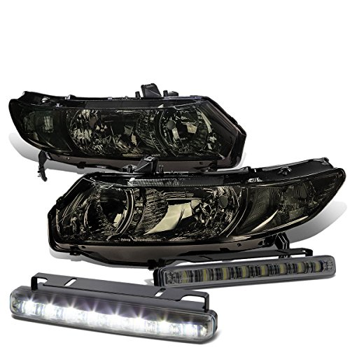 Honda Civic 8th Gen Coupe Smoked Lens Clear Corner Headlight+Smoked DRL 8 LED Fog Light (Fd2 Civic Fog Lights compare prices)