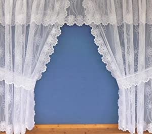 Flowered Pattern Window Curtain Net Set In White With Attached Pelmet Valance Tiebacks Included