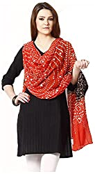 Apratim Womens Cotton red and black Bandhani dupatta with mirror work