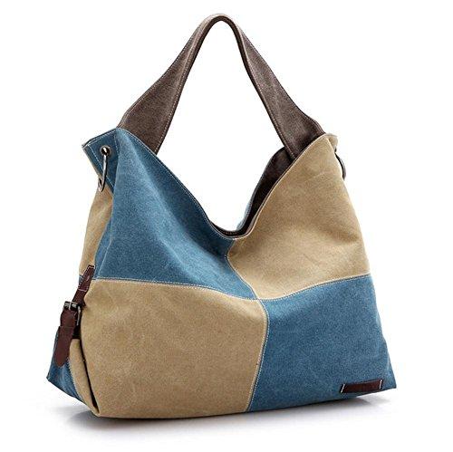 Canvas borsa stile retrš° ladies baodan borsa a tracolla cuciture colore onda donna . 3
