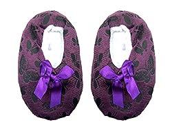 Jack & Ginni Designer Woolen Dark Purple Colour Footie for Baby Girl & Baby Boy - 1 Pair Pack