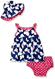 Gerber Baby Three-Piece Sundress, Diaper Cover and Hat Set, Butterfly, 0-3 Months