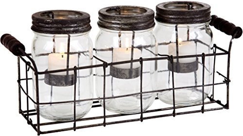 Clear S/3 Mason Jar Votive W/Metal Rack in G/B
