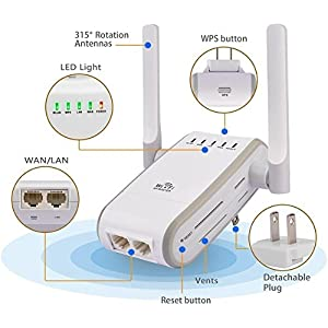 WEILIANTE 300Mbps WiFi Amplifier Range Extender Wireless-N Access Point Support AP Repeater Router Client and Bridge Modes 3dbi Wifi Antenna Signal Booster