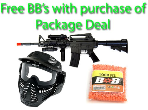 AEG Electric M16 Assault Rifle FPS-200 Airsoft Gun Package Deal (Mask and Free BBs)