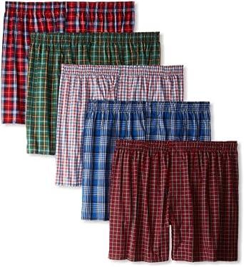 (舒适)恒适男士平脚内裤 5件装 Hanes Men's Classics 5 Pack Tartan Boxer $16.43