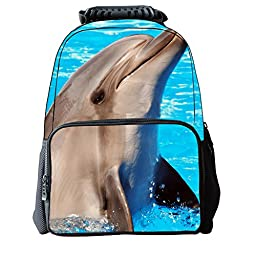 Vere Gloria Unisex School Backpack Bags 3D Animal Print Felt Fabric Hiking Daypacks (dolphin)