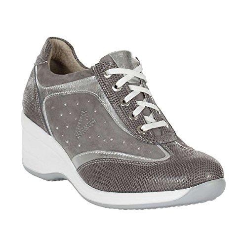 VALLEVERDE donna sneaker basse con zeppa 15603 (35, Grigio)