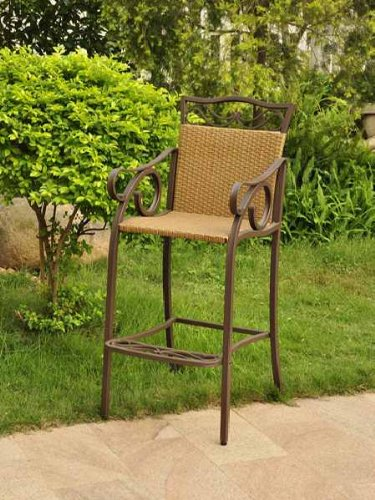 International Caravan Valencia Bar Height Wicker Chair (Set of 2) image