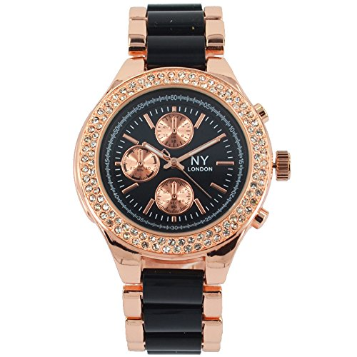 Branded Fashion Ladies Watch   Womens Watch at Discounted Sale Price - Rose Gold & Black Watch with Crystals