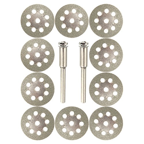 Diamond Cutting Wheels For Dremel Rotary Tool 10 Cut Off Discs 2 Mandrels 545 Set Kit Cuts Stone Glass Tile Concrete Metal Bottle Masonry Cutter 10pcs