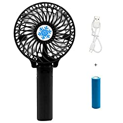 Casotec Portable Mini USB Fan Rechargeable Personal Handheld Fan Foldable Battery Operated / USB Powered for Home and Office - Black