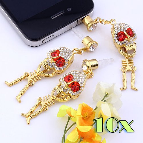 Top Plaza 1/5/10 Pcs 3.5Mm Crystal Metal Punk Style Skull Skeleton Anti Dust Plug Stopper For Iphone, Ipad, Samsung, Htc, Ipod (1Pc) (10Pcs)