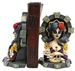 2 Day of the Dead Calavera Catrina Girl Bookends - 6\