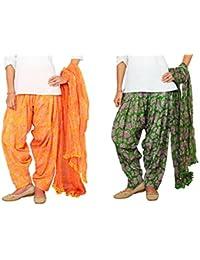 Rama Set Of 2 Paisley & Dots Printed Multicolour Cotton Full Patiala With Dupatta Set