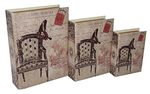 Cheung's Rattan FP-3671-3 Vinyl Book Box with Carte Postal And Vintage Print, Set of 3